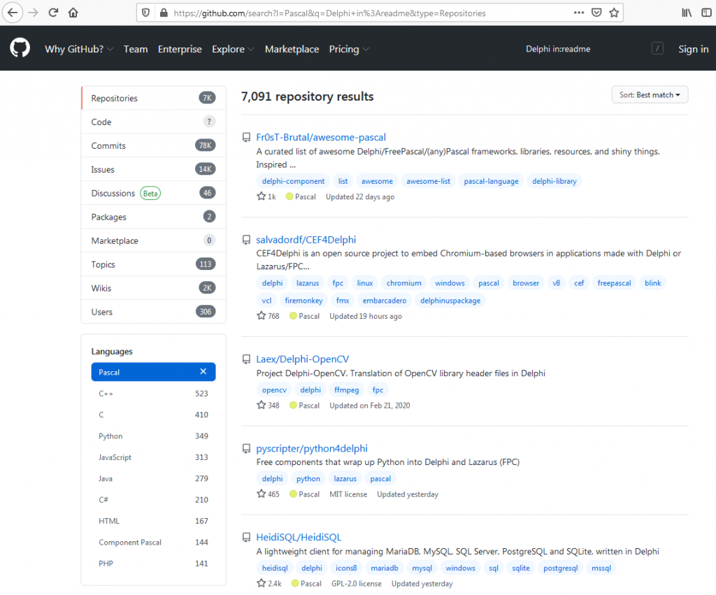 GitHub readme Delphi drill down Pascal